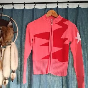 Pink & Red Zigzag Star Cardigan